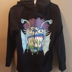 BLACK fleece monster zip up hoodie
